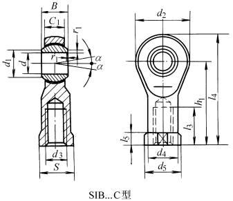 SIB…C、SA…C型杆端关节轴承的结构型式和外形尺寸
