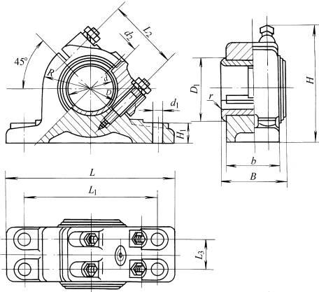 对开式四螺柱斜滑动轴承座尺寸